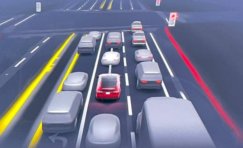 特斯拉-FSD-beta-全自动辅助驾驶将加入智慧倒车功能:路口有危险? 车子自己倒退噜躲开-1